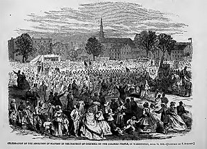 Emancipation Day - Image: Celebration of the abolition of slavery in the District of Columbia by the colored people in Washington, April 19, 1866