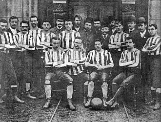 History of Celtic F.C. (1887–1994) - A team photo from the early days of the club, c. 1889, before the adoption of the now-famous hooped jerseys