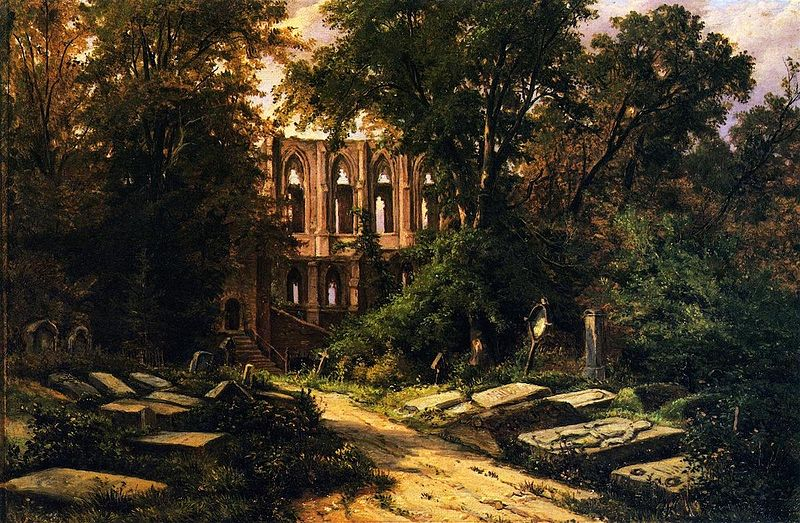 File:Cemetery by a Ruined Gothic Church.jpg