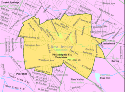 Census Bureau map showing location of Clementon within Camden County. Inset: Location of Camden County in New Jersey.