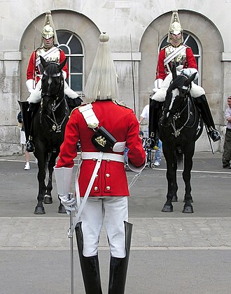 Household Cavalry - Life Guards of the Household Cavalry mounting the guard at Horse Guards