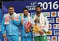 Chain Singh (INDIA) won Gold Medal, Gagan Narang (INDIA) won Silver Medal and Siddique Umar (PAKISTAN) won Bronze Medal in the 50m Rifle Prone Men's Individual, at the 12th South Asian Games-2016, in Guwahati (1).jpg