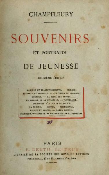 File:Champfleury - Souvenirs et Portraits de jeunesse, 1872, éd2.djvu