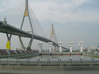 Phra Pradaeng District - Bhumibol Bridge (Mega Bridge) cross Chao Phraya River links between Tambon Song Khanong and Tambon Bang Ya Phraek, Phra Pradaeng District, Samut Prakan Province and Bang Phong Phang Subdistrict, Yan Nawa District, Bangkok (seen from Phra Pradaeng District side)