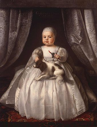 Charles II as an infant in 1630, painting attributed to Justus van Egmont Charles II Prince of Wales Egmont.jpg