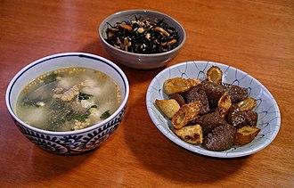 Hijiki - Japanese simmered hijiki (top) with chazuke (L) and chikuwa (R)