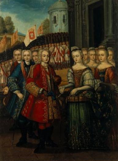 Chegada de D. Afonso V de Arzila, conversando com a filha - Manuel Ferreira e Sousa