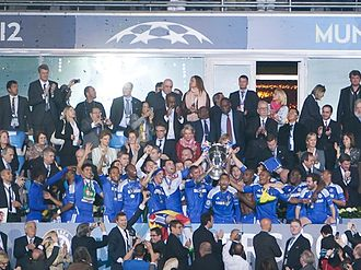 Chelsea F.C. - Chelsea players celebrate their first UEFA Champions League title against Bayern Munich.