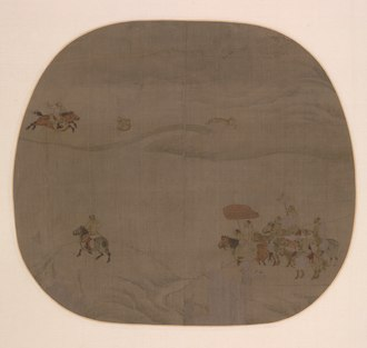 Khitan hunters in a painting by Chen Juzhong, 1196 Chen Juzhong - The Autumn Hunt - 1930.314 - Cleveland Museum of Art.tif