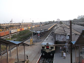 Chennai Beach railway station - Chennai Beach station with the portside visible at the left