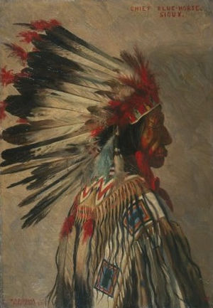 Blue Horse (Lakota leader) - Blue Horse painted by Elbridge Ayer Burbank, 1898.