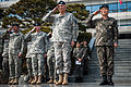 Chief of Staff of the U.S. Army Gen. Raymond T. Odierno, second from right, and Chief of Staff of the Republic of Korea Army (ROKA) Gen. Kwon Oh-sung, right, salute during an honor guard ceremony Feb. 24, 2014 140224-A-KH856-052.jpg