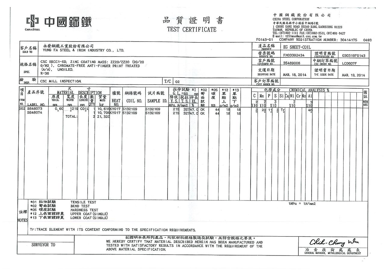 File:China Steel Test Certificate 030319F0143 20140319 jpg