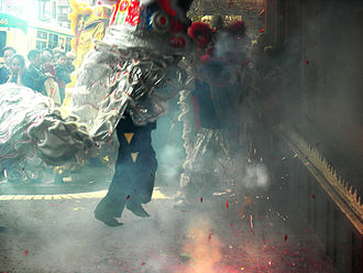 Chinatown-International District, Seattle - Chinese New Year 2007: Lion dancers in the firecracker smoke