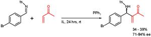 Aza-Baylis–Hillman reaction - Aza BH reaction in chiral ionic liquid, Ph = phenyl, Ts = tosyl