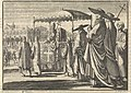 Christiaan IV, koning van Denemarken, als paus verkleed, bootst met zijn hovelingen een processie na, 1596, RP-P-1896-A-19368-1372.jpg