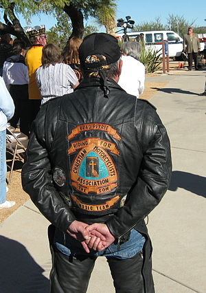Colors (motorcycling) - Member of the Christian Motorcyclists Association at the dedication of a World War II memorial on Interstate 17 N. of Phoenix, AZ
