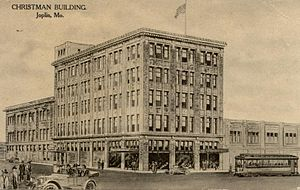 Fifth and Main Historic District - A postcard drawing of the Christman Dry Goods Company as it appeared at the time it was built in 1917.