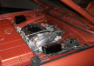 Museum of Transportation - The engine compartment of a 1963 Chrysler Turbine Car displayed inside the museum.