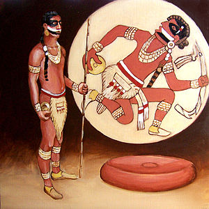 Chunkey - Illustration of a chunkey player based on a Mississippian gorget design. Artist Herb Roe