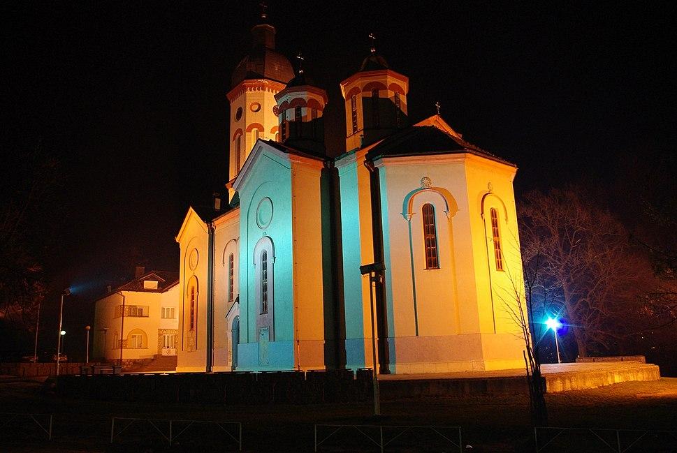 Church in Loznica by night