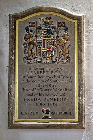Herbert Cayzer, 1st Baron Rotherwick - Cayzer and wife Freda memorial at St Andrew's Church, Nuthurst, West Sussex