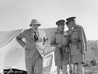 Leslie Morshead - Morshead (centre) with Winston Churchill (left) and General Claude Auchinleck (right) in August 1942