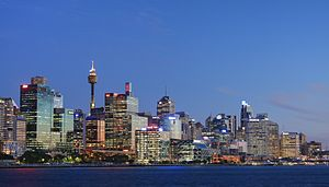 Sydney sunset from the Balmain wharf. Sydney A...