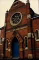 Claremont Street Methodist Church, Leicester, UK. Former building, demolished 1994.png