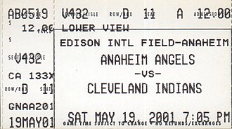 2001 Cleveland Indians season - A ticket for a  2001 game between the Cleveland Indians and Anaheim Angels.