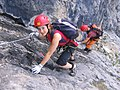 Climber on fixed rope route Piz Mitgel 2.jpg