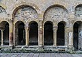 Cloister next to treasury of medieval goldsmith in Conques 01.jpg