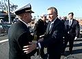 Cmdr. John D. Stoner greets Photis Photiou, minister of defense of Cyprus. (12370429235).jpg