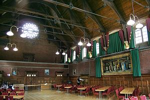 Homerton College, Cambridge - The Great Hall (1889) with Jane Benham Hay's 'The Florentine Procession' on display.