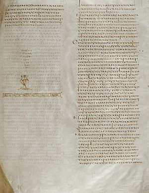Alexandrian text-type - The end of the book of Acts (folio 76r) from the Codex Alexandrinus, which has a mostly Byzantine text-type during the Gospels and is largely Alexandrian throughout the rest of the New Testament