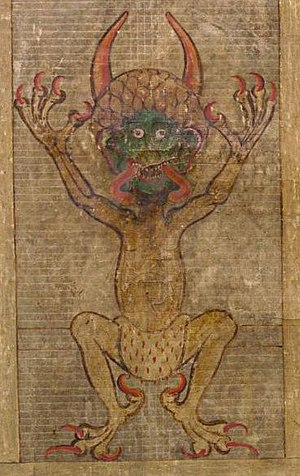 Good and evil - Satan, as seen in Codex Gigas. Demons are generally seen as evil beings, and Satan as the greatest of these (in the Christian tradition).