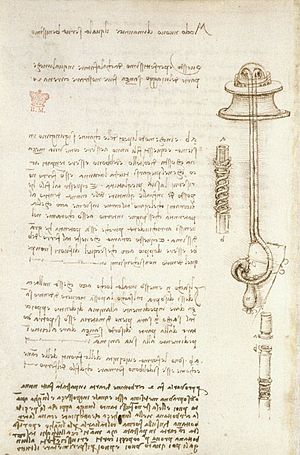 Codex Arundel - Fol 24v from Codex Arundel: study of an underwater breathing device for divers