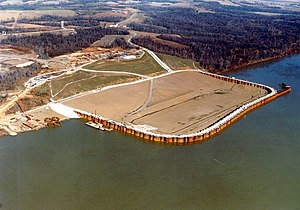 Cofferdam - A cofferdam on the Ohio River near Olmsted, Illinois, built for the purpose of constructing the Olmsted Lock and Dam