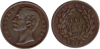 Charles Brooke, Rajah of Sarawak - Rajah Charles as depicted on a one cent coin