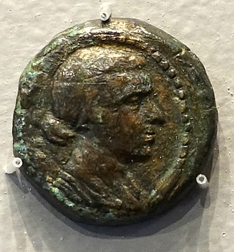 Reign of Cleopatra - Coin of Cleopatra VII struck in Alexandria, Egypt, the obverse showing her portrait bust, 51–31 BC