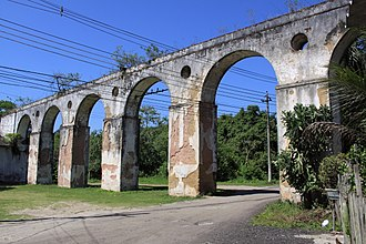 Aqueduct built in the 18th century, as was the entire historic complex of the Colonia Juliano Moreira inside Pedra Branca State Park in Taquara Colonia Juliano Moreira - Aqueduto dos Psicopatas.jpg