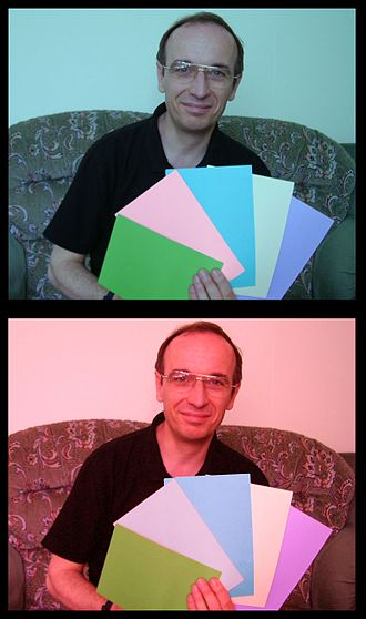 Color constancy - In these two pictures, the second card from the left seems to be a stronger shade of pink in the upper one than in the lower one. In fact they are the same color (since they have the same RGB values), but perception is affected by the color cast of the surrounding photo.