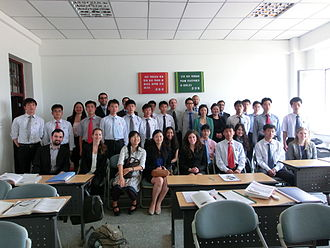 Pyongyang University of Science and Technology - PUST students pose with visitors from SIPA during a math class of Prof. Dr. Jerome Philippe COSS, Ph.D. .