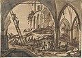 Coppens, Ruines de l'église Saint-Nicolas après le bombardement de 1695.jpg