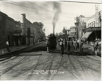 Corinth, Mississippi - Work crew repaving Taylor Street, 1930