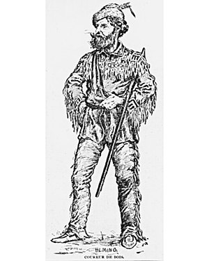 "Economic history of Canada - ""Coureur de bois"" – A woodcut by Arthur Heming"