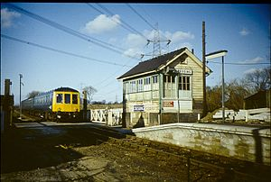 Cressing railway station - Cressing signal box in 1976, before electrification