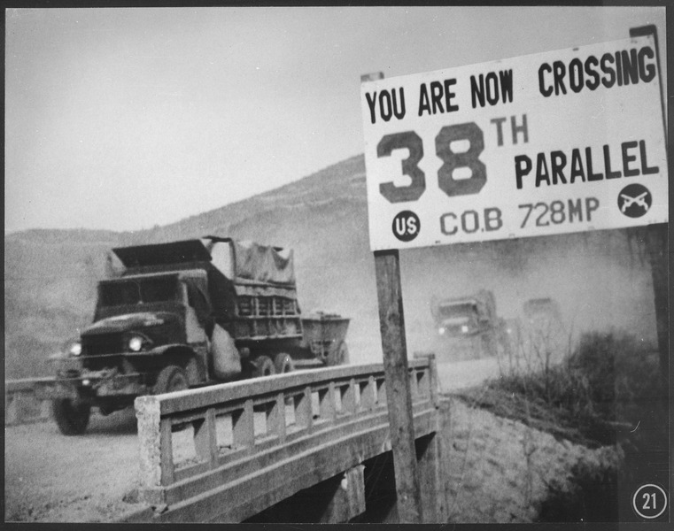 File:Crossing the 38th parallel. United Nations forces withdraw from Pyongyang, the North Korean capital. They recrossed... - NARA - 541822.tif
