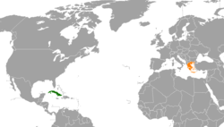 Map indicating locations of Cuba and Greece