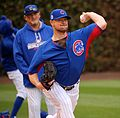Cubs lefty Jon Lester throws a bullpen session at Wrigley Field. (29989411074).jpg